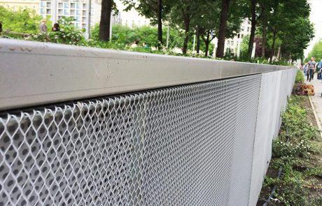 Budapest Erzsébet tér támfal perforált lemez burkolata Metmark 4